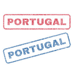 Portugal textile stamps vector
