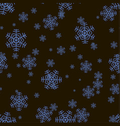 Seamless snowflake pattern on a black background vector