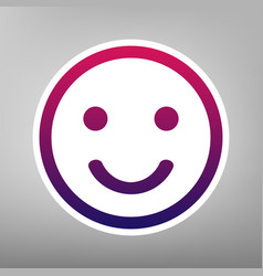 Smile icon purple gradient icon on white vector