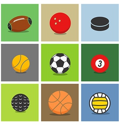 Sport ball silhouettes color collection vector image