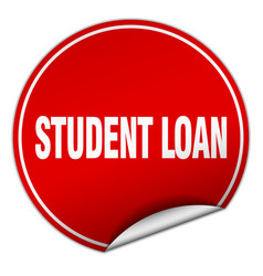 Student loan round red sticker isolated on white vector
