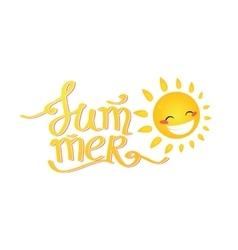 Summer lettering cartoon sun vector
