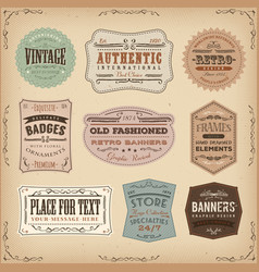 Vintage and old-fashioned labels ans signs vector