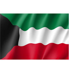 waving flag of kuwait vector image vector image