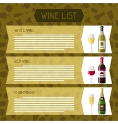 Alcohol drinks menu or wine list bottles glasses vector