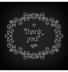 Thank you lettering and frame line art black vector