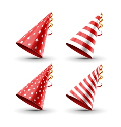Party hat set isolated on a white birthday hat set vector