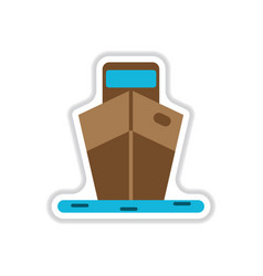 Paper sticker on white background ship vector