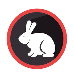 circular shape with silhouette rabbit with long vector image