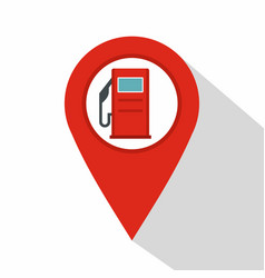 Red map pin with gas station sign icon flat style vector
