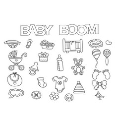 Baby boom elements hand drawn set vector