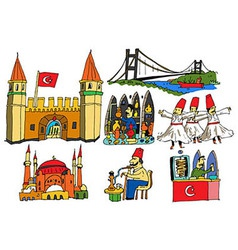7 authentic caricatures of turkish scenes vector