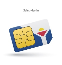 Saint-martin mobile phone sim card with flag vector