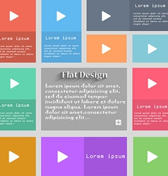 Play icon sign set of multicolored buttons metro vector
