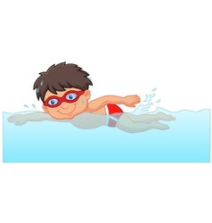 Cartoon little boy swimmer in the swimming pool vector