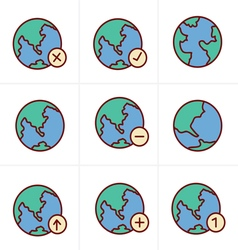 Icons style earth icons set vector