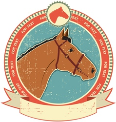horse head label vector image
