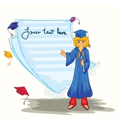 Graduated girl with blank page vector