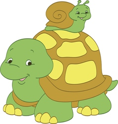 Snail riding a turtle vector