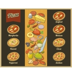 Set whole pizza isolated flat vector