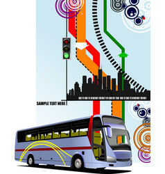 Abstract hi-tech background with city bus image vector