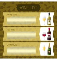 Alcohol drinks menu or wine list Bottles glasses vector image