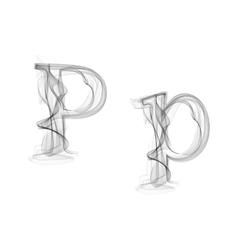 Black smoke font letter p vector