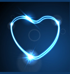 Blue heart glowing neon effect abstract vector
