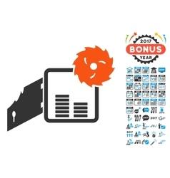 Broken bank safe icon with 2017 year bonus symbols vector