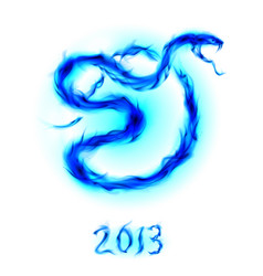 Christmas card with blue fire snake on white vector