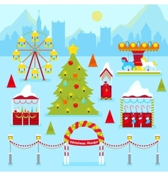 Christmas Market Fair with Kiosk vector image