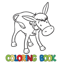 Coloring book of funny donkey vector