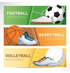 Concept of sport banner footbal basketball field vector