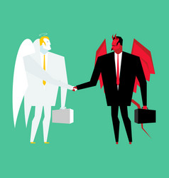 Devil and angel business deal satan and god vector