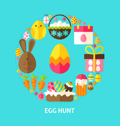 Egg hunt postcard vector