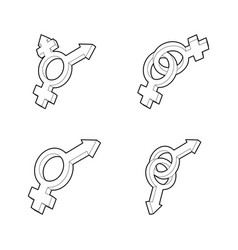 gender symbol icon set outline style vector image