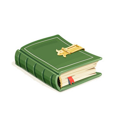green vintage book with lock vector image