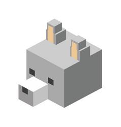 Head wolf modular animal plastic lego toy blocks vector