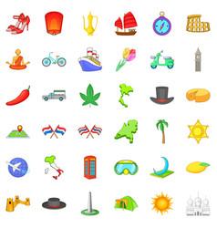 Jorney icons set cartoon style vector