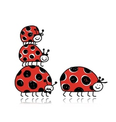 Ladybird family for your design vector image
