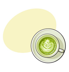 Matcha green tea latte cappuccino drink top view vector