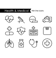 Medical and health thin line icon set vector image