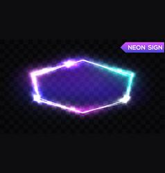 night club hexagonal neon sign 3d light signboard vector image vector image