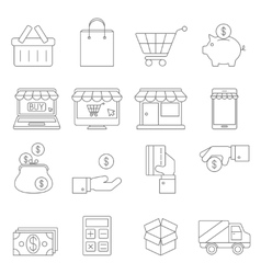 On Line Shopping Thin Icons vector image vector image