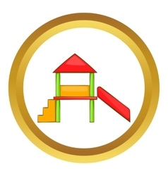 Playhouse with slide icon vector