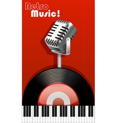 Retro music with microphone and recorder vector image