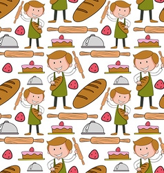 Seamless background with baker and bakery vector image