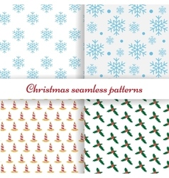 Set of four simple Christmas patterns vector image vector image