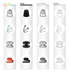 Thimble metal pin and other web icon in cartoon vector