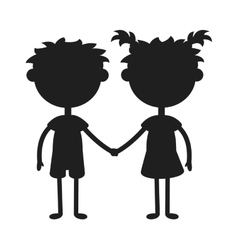Twins happy kids holding hands black silhouette vector